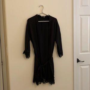 Women's Black Lace Robe
